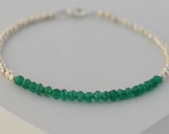 Green Onyx silver bracelet. Sterling Silver bracelet with Green Onyx beads. Layering bracelet. Dainty bracelet. Delicate bracelet