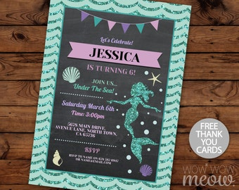 Mermaid Birthday Invitations ANY age Pool Party Invite Girls Chalk INSTANT DOWNLOAD Thank You Little Glitter Sea Digital Editable Printable