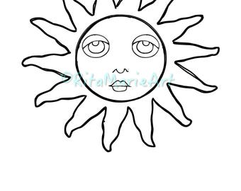 The Sun With Face & Doodles