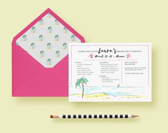 Beach Bachelorette Invitation, Party Invite, Bachelorette Weekend, Weekend Itinerary—Tropical, Palm Tree—Printable or Printed, FREE SHIPPING