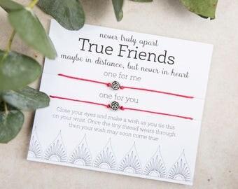 True Friends Wish Bracelet, Friendship Bracelet, set of two bracelets, BFF Matching Bracelets, GIft for Best Friend, Distance Never Apart