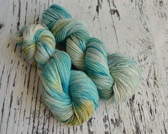 Hand Dyed Yarn, DK yarn, hand dyed DK wool, hand dyed merino, silk yarn, stellina, merino wool, Atlantis