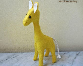 Felt giraffe, handmade small stuffed giraffe, soft toy zoo animal, felt stuffed animal