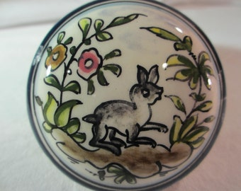 Vintage Portugal Rabbit Trinket Box -- Hand Painted Treasure Box -- Jewelry Box