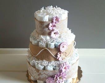 Diaper Cake/ Rustic Shabby Chic Diaper Cake/ It's A Girl Diaper Cake/ Pink & Burlap Diaper Cake/ Baby Shower Decor Centerpiece/ Pearls