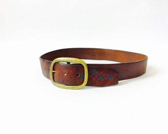 Western tooled leather belt western belt western leather belt brown leather belt vintage tooled leather western style SW belt boho belt L