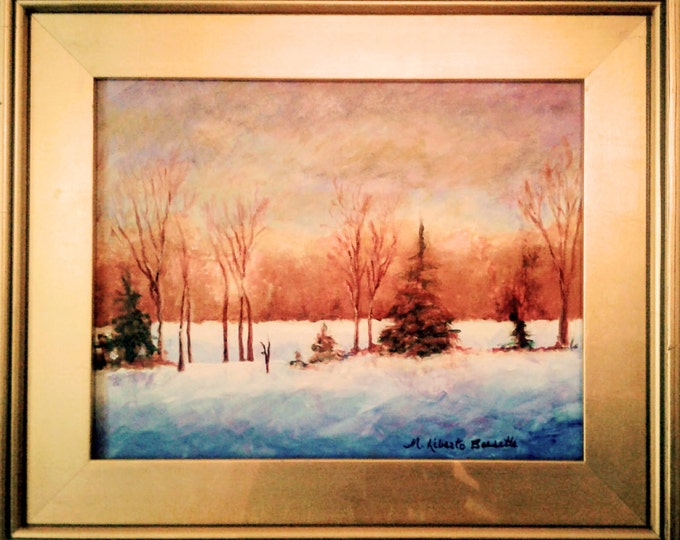 "Free Ship: ""Early Snow Surprise"" Original Acrylic Offered by Artist of Liberto's Gallery"