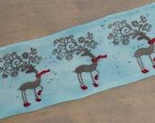 Hand Painted Sock Blank -- Reindeer in Socks (on sparkle base)