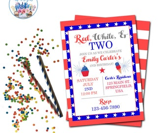 Red, White, and Two Invitation, 4th of July Birthday Party Invite