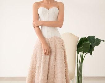 Maxi skirt, Silk skirt, Chiffon skirt, Wedding skirt, Two piece wedding dress,Blush wedding skirt, 0045 // 2017(55% sample sale)
