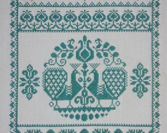 SCANDINAVIAN PEACOCK, Completed Cross-Stitch, Turquoise, Gift, Wall Art