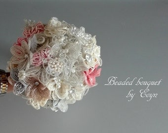 SPECIAL price,VIDEO,Ivory Brooch bridal bouquet, Beaded bridal flower bouquet, Alternative bridal bouquet,vintage bouquet,pearl bouquet