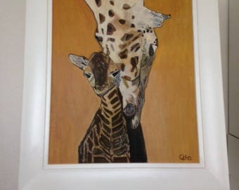 Mother and Baby Girraffe