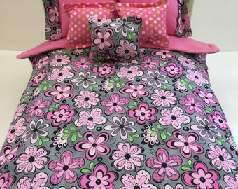 American girl 18 inch doll bedding modern floral stripes 6 piece reversible comforter and pillows