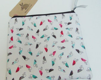 Handmade Mouse Makeup Bag, Sugar Mice, Cat and Mouse Theme Animal Cosmetics Case