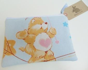 Handmade Makeup Bag, Vintage 1980s Care Bears Fabric, Upcycled Fabric, Tenderheart Bear Padded Pouch