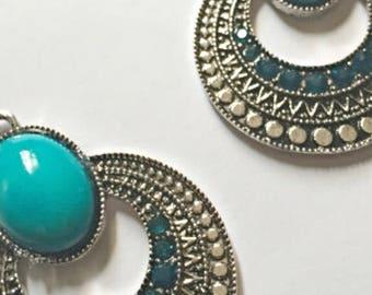 Aqua Crystal Tibetan Silver Earrings REDUCED PRICE