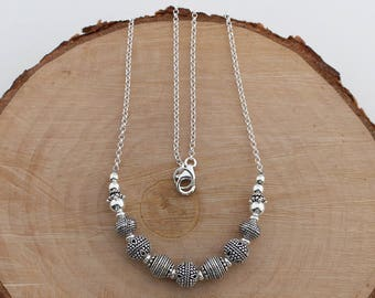 Sterling Silver Beaded Bali Necklace, Bali Jewelry, Bali Turkish Jewelry, Silver Beaded Chain Necklace, Balinese Jewelry