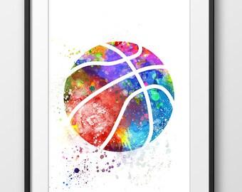 Basketball Print No2, Sport Wall Art, Sport, Basketball Nursery Decor, Basketball Abstract, Basketball Watercolor, Basketball Art (A0478)