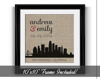 Personalized Wedding Gift | Wedding Gift for Couple | Husband Gift Boyfriend Gift | Skyline Print Engagement Gift | Choose A City