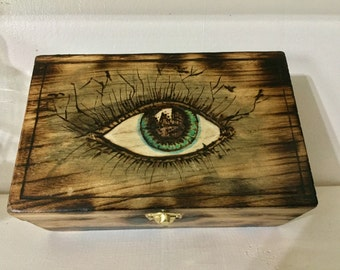 Woodburned, Painted Box, Keepsake, Eye, Occult, Abstract,