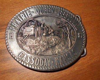1987 Commemorative Belt Buckle Prairie Queen Festival Cassoday KS Flint Hills