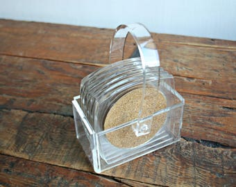 Cork and Lucite Coasters and Caddy Set