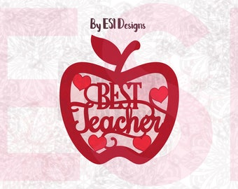 Best Teacher, Teacher Appreciation svg,  Apple svg, Teacher svg, SVG, DXF, EPS, png, Cut files for use with Silhouette, Cricut Explore