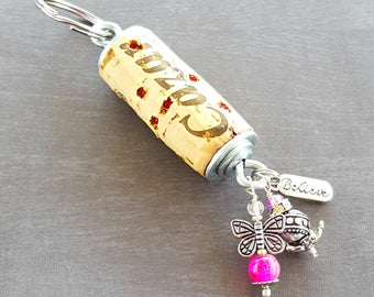 Butterfly Keychain, Wine Cork Keychain, Gift for Women, Cute Keychains, Car Keychain, Rhinestone Keychain, Beaded Keychain, Wine Gifts