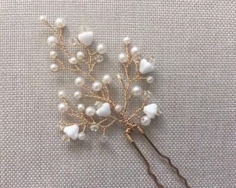Glass pearl & baby bell bead bridal hair pins, wedding hair pins, bridal hair pins, bridal headpiece, bridal accessories, bridal hairpin