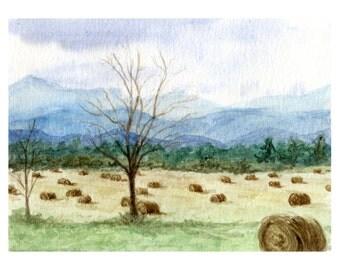 HAY FIELD PRINT-  Vermont, watercolor farm, home decor, fall artwork, autumn painting, field painting, farm art, farm scene, farmhouse decor