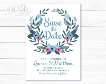 Rustic Save the Date Wreath, Printable Boho Save the Date Cards, Floral Save the Date Invitation, DIY Save the Date Template, Blue Flowers