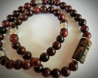 Orthodox Chotki - Orthodox Cross carved in Arizona Ironwood, 50 hand carved Brazilian Rosewood beads,  Steel accents, Prayer Rope-Komboskini