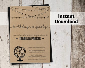 Travel Birthday Invitation for Women - Rustic Wanderlust Printable Template - Instant Download Digital File - Adult 21st, 30th, 40th, 50th