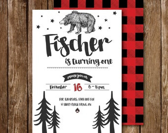 Outdoors, Bear First Birthday Invite