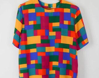80s Blouse, Vintage Clothing, 80s Clothing, Colorful Blouse, Shirt, Art Deco, Color Block, 80s Clothes, Spring Summer Blouse, Shoulder Pads