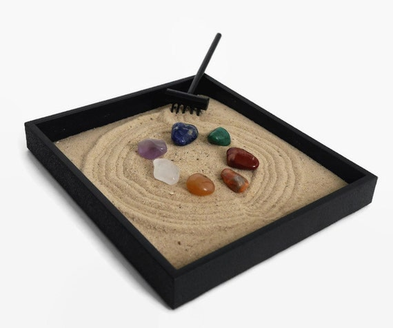 chakra stones mini zen garden healing crystals and stones set. Black Bedroom Furniture Sets. Home Design Ideas