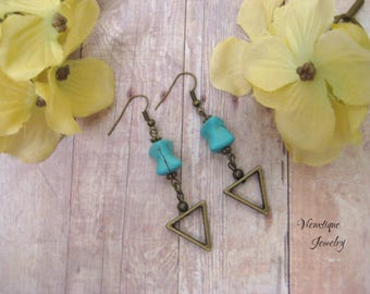 Turquoise Howlite and Bronze Earrings, Dangle Earrings, Drop Earrings, Turquoise Earrings, Bronze Earrings, Howlite Earrings, Boho Earrings