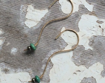 Turquoise and pyrite on 14k gold fill delicate earrings