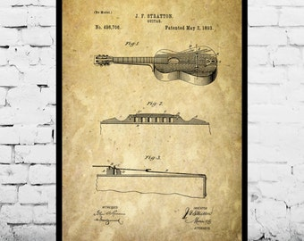 Acoustic Guitar Patent, Acoustic Guitar Poster, Acoustic Guitar Print, Acoustic Guitar Decor, Acoustic Guitar Blueprint