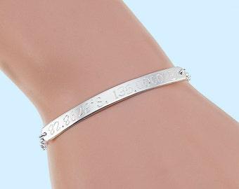 Coordinates Bracelet, Sterling Silver Bar Bracelet, Cuff Bracelet, Latitude Longitude Bracelet, Custom Coordinates, Personalized Bracelets