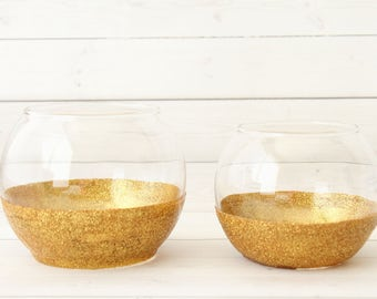 glitter candle holder gold candle holder wedding glitter decor gold vase gold - Gold Candle Holders