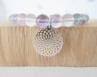 Mandala bracelet, yoga bracelet, fluorite bracelet