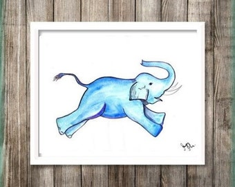 Blue Elephant Decal Etsy