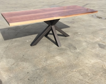 Modern Black Walnut Dining Table by Dog and Pig Furniture