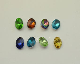 100 PCS 6mm x 8mm Glass Clear/AB Oval Faceted Glass Jewels