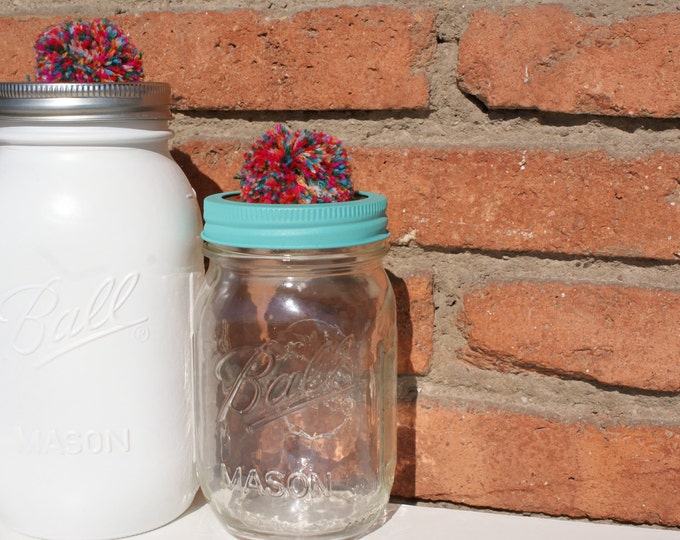 Hand Painted Mason Jar with Knob Lid // Baby Shower Gift // Party Favors // Teacher's Gift // Home Decor // Interesting Gifts // Unique Gift