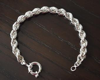 Mens 9.25 Sterling Silver Rope Bracelet handmade.