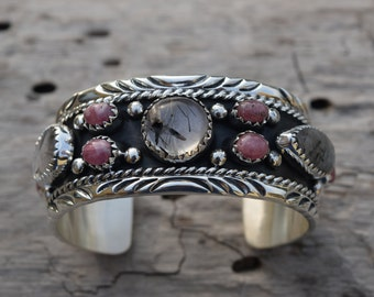 utilated Quartz and Rhodochrosite Navajo .925 Sterling Silver cuff Bracelet Handmade Native American Inspired.