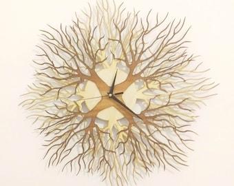 "Wooden wall clock ""TREES""  XL 2 colors version  (550mm - 21.6"")"